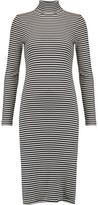 Petit Bateau Striped Cotton Rib-Knit Turtleneck Midi Dress