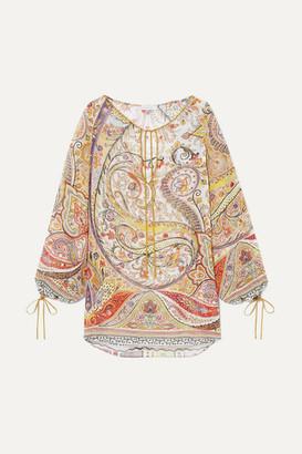 Etro Tie-detailed Paisley-print Chiffon Blouse - Gold