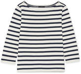 J.Crew Striped Cotton-jersey Top - White