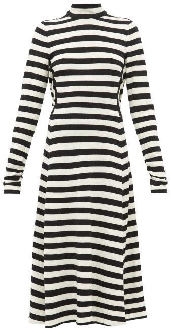 Marc Jacobs Striped Wool-blend Knit Midi Dress - Womens - Black White