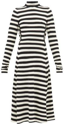 MARC JACOBS, RUNWAY Marc Jacobs Runway - Striped Wool-blend Knit Midi Dress - Black White