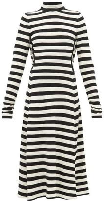 Marc Jacobs Runway - Striped Wool-blend Knit Midi Dress - Womens - Black White