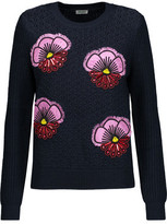 Kenzo Embellished Embroidered Open-Knit And Ribbed Wool Sweater