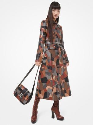 Michael Kors Patchwork Leather Trench Coat