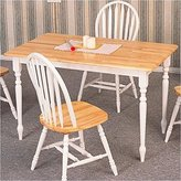 Coaster Home Furnishings Coaster Country Butcher Block Oak and White Finish Wood Dining Table