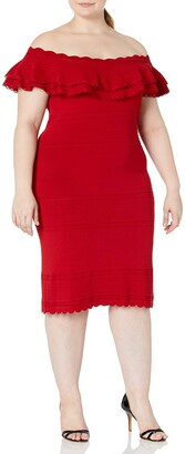 Eliza J Women's Plus Size Off-The-Shoulder Sweater Dress