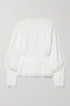 Dolce & Gabbana Lace-paneled Cotton-blend Voile Blouse - White