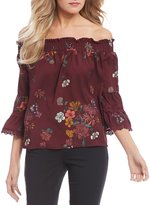 Jolt Floral-Printed Off-The-Shoulder Ruffle Satin Top
