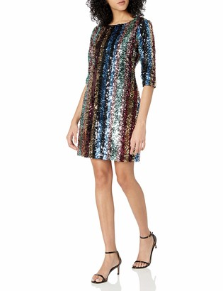 Cupcakes And Cashmere Women's Virginia Multi Stripe Sequined Dress Small