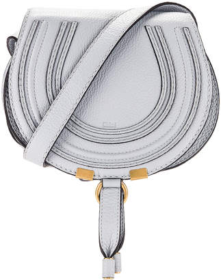Chloé Small Marcie Grained Calfskin Saddle Bag in Light Cloud | FWRD