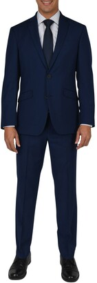 Kenneth Cole Reaction Modern Blue Woven Two Button Notch Lapel Slim Fit Suit