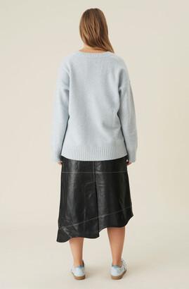 Ganni Wavy Asymmetrical Leather Midi Skirt