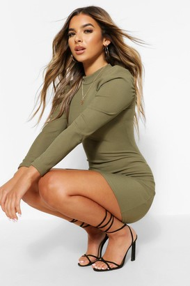 boohoo Petite High Neck Ruched Shoulder Dress