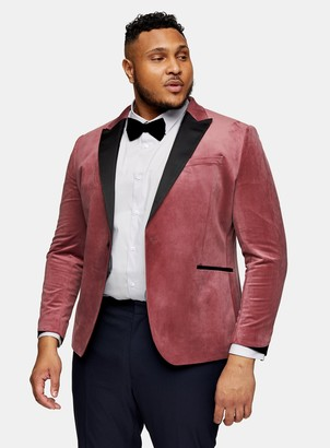 Topman BIG & TALL Pink Velvet Single Breasted Suit Blazer With Peak Lapels*