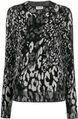Saint Laurent leopard jacquard-knit jumper