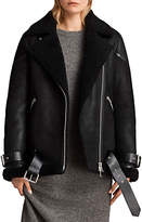 AllSaints Hawley Oversized Shearling Jacket, Black