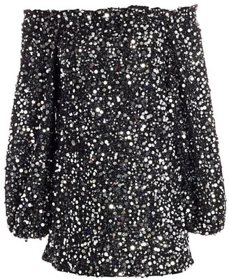 Rotate by Birger Christensen Gloral Sequin Off-the-Shoulder Puff-Sleeve Shift Dress