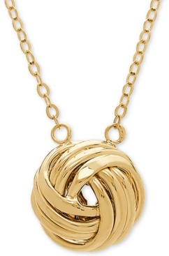 """Italian Gold Love Knot 18"""" Pendant Necklace in 14k Gold"""