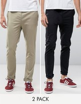 Asos 2 Pack Skinny Chinos In Black And Light Stone