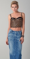 Opening ceremony Patchwork Raffia Bustier Top