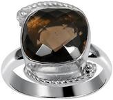 Ice 9 1/3 CT TW Smokey Quartz White Rhodium-Plated Brass Fashion Ring