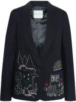 Mira Mikati Dot To Dot Embroidered Cotton-blend Twill Blazer - Black