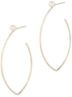Mizuki Sea Of Beauty 3MM Round Freshwater Pearl & 14K Yellow Gold Hoop Earrings
