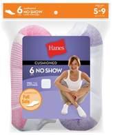 Hanes Women's 6pk No Show Cushion Foot Casual Socks
