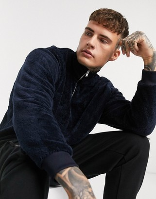 ASOS DESIGN teddy fleece oversized half zip sweatshirt in navy