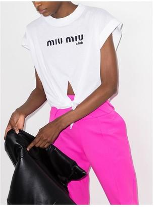 Miu Miu logo print tie front T-shirt