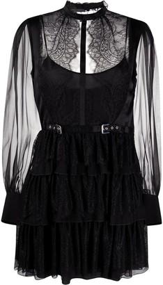 Alberta Ferretti Tiered Sheer Panel Dress