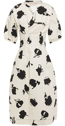 Marni Printed Cotton And Linen-blend Drill Dress