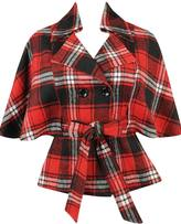 Cape Sleeve Plaid Coat