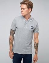 Timberland Slim Logo Pique Polo In Grey