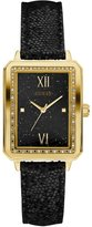 GUESS Black and Gold-Tone Rectangle Watch