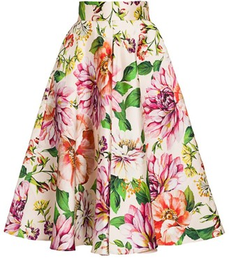Dolce & Gabbana Silk Mikado Floral-Print Flare Skirt