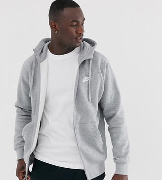 Nike Tall Club full zip hoodie in grey