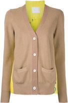 Sacai pleated back cardigan - women - Nylon/Polyester/Wool - 3