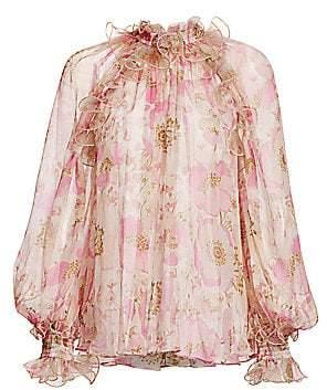 Zimmermann Women's Super 8 Silk Lantern Ruffle Puff-Sleeve Blouse