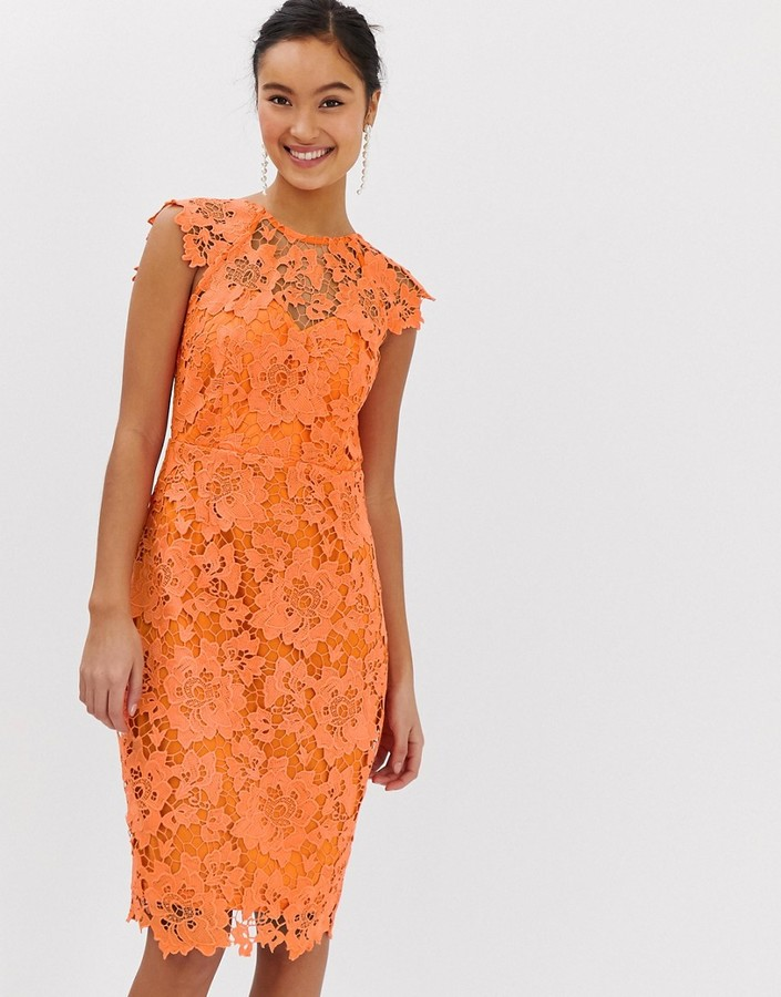 Paper Dolls midi lace dress with scalloped back in orange