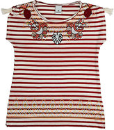 Scotch R'Belle EMBROIDERED STRIPED COTTON JERSEY T-SHIRT-BURGUNDY, CREAM, NO COLOR SIZE 8