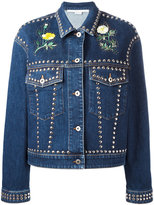 Stella McCartney floral stud denim jacket - women - Cotton/Spandex/Elastane/Crystal/metal - 40