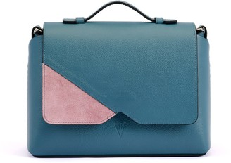 Atelier Hiva Mare Leather Bag Deep Blue & Pink Suede