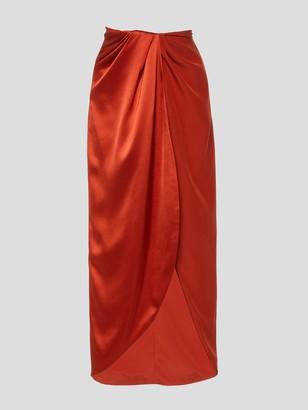 Brandon Maxwell Silk Satin Wrap Skirt