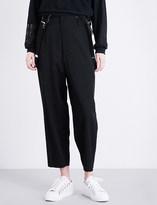Y's Ys Suspender-detail cropped wool trousers