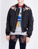 Gucci Floral-embroidered Satin Bomber Jacket