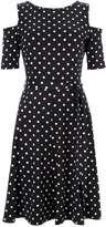 Black Spot Cold Shoulder Fit and Flare Dress
