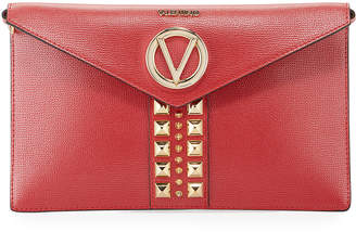 Mario Valentino Valentino By Brienne Spiked Leather Envelope Clutch Bag