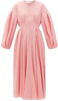 Emilia Wickstead Raquel Balloon-sleeve Cotton-blend Cloque Dress - Womens - Pink