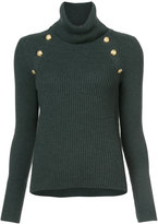 Veronica Beard ribbed button detail turtleneck top